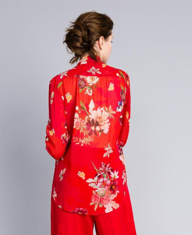 """Bluse aus geblümtem Georgette Print """"Red Garden"""" Frau PA8274-03"""