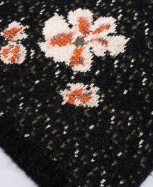 Écharpe en mohair jacquard Jacquard Fleurs Noir Femme OA8T8F-02
