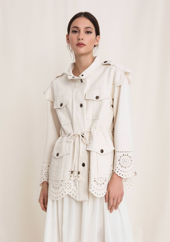 Canvas jacket with broderie anglaise