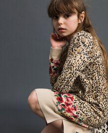 Mini abito in maglia animalier e a fiori Stampa Leopardo / Fiore Bambina 192GJ3180-04