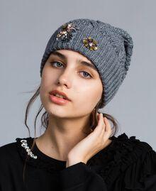 Mütze mit Zopfmuster und Strass Durchschnittgrau-Mélange Frau OA8T6B-0S