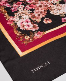 Scarf with floral and logo print Placed Scarf Print Woman 192TA4421-02