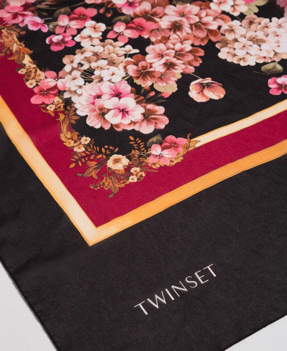 Foulard con fiori e logo stampati Stampa Foulard Piazzata Donna 192TA4421-02