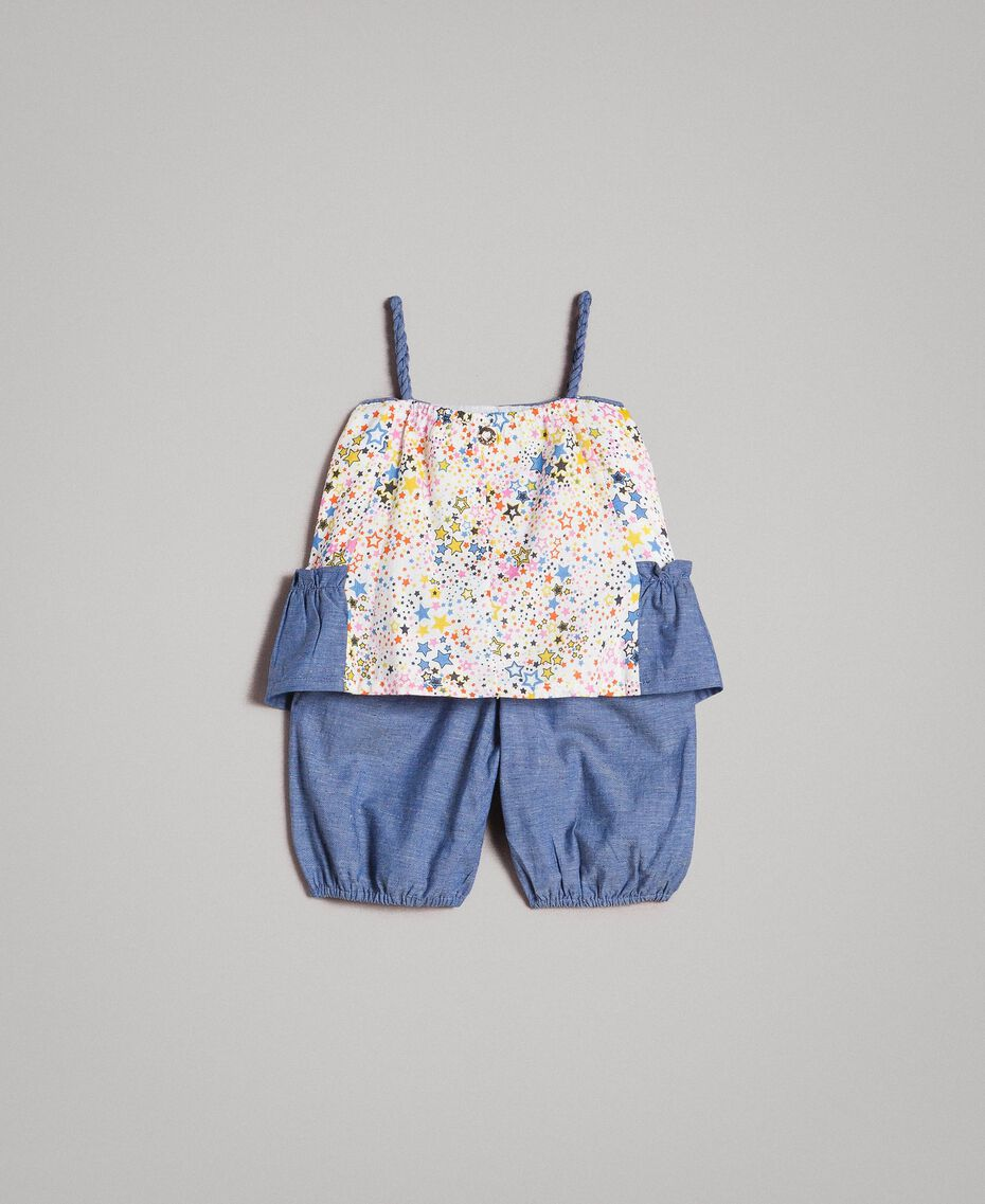 Chambray top and shorts with print Mini Stars Print Child 191GB2530-0S