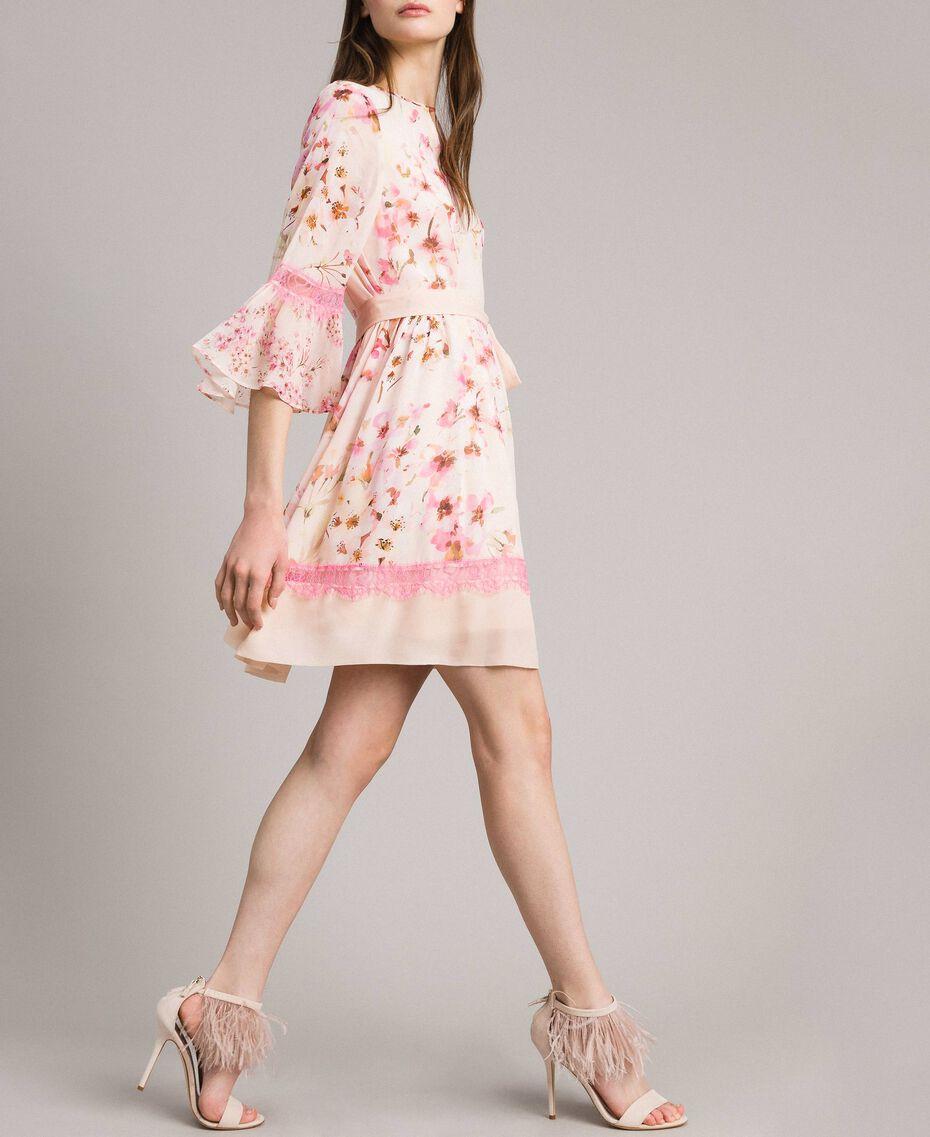 """Robe en georgette à imprimé floral Imprimé Rose """"Bouton De Rose / Peach Mix"""" Femme 191TP2716-03"""
