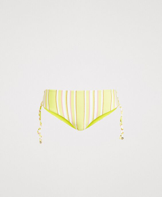 Striped high bikini bottom with plaiting
