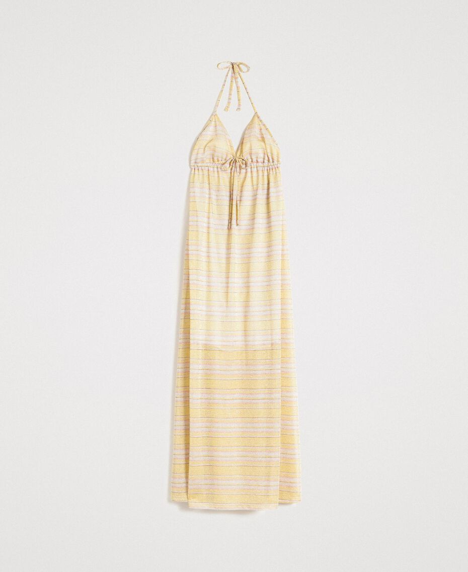 """Robe longue avec rayures lurex Rayures Multicolores Marron """"Poudre De Bronze"""" / Jaune """"Jus De Citron"""" Femme 191LB2AFF-0S"""