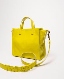 Medium leather shopper with logo Lime Yellow Woman 201TO8091-03