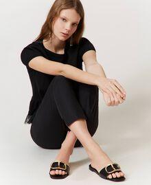 Sandales slide en cuir avec logo Noir Femme 211TCT014-0S