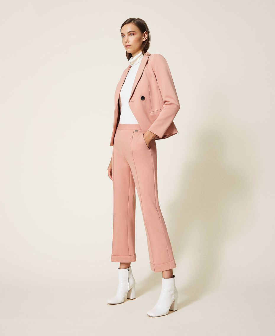 "Trousers with folded hem and stitching ""Vintage"" Pink Woman 202ST2023-02"