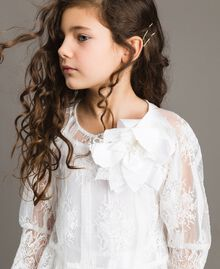 Poplin jumpsuit and organza blouse White Child 191GJ2QB0-04