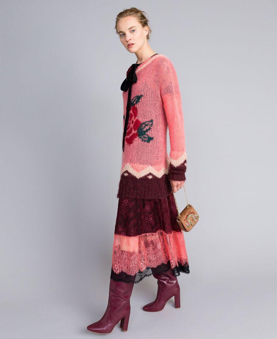 """Valencienne lace multi-colour long dress Burgundy Multicolour / """"Royal Pink"""" Woman PA82FS-0T"""