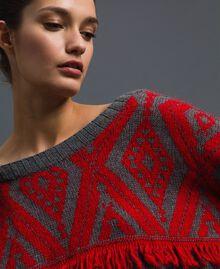 Jacquard maxi jumper with ethnic motif Ethnic Melange Grey / Pomegranate Jacquard Woman 192TP3042-04