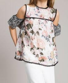 Floral viscose top with lace print Ramage Butterfly Print Child 191GJ2521-04