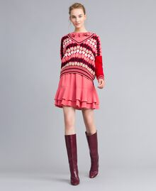 """Jumper with jacquard hearts """"Poppy"""" Red Heart Jacquard Woman PA837N-0T"""