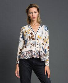 Cardigan avec imprimé floral et chevrons Imprimé Fleurs d'Automne Crème Femme 192ST3221-02