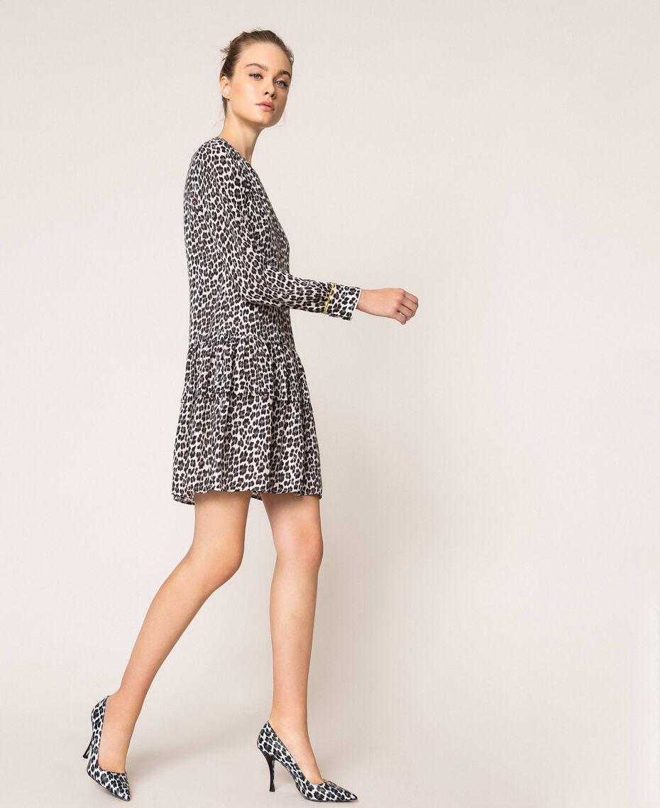 Платье из жоржета с животным принтом Принт Животный Лилия / Черный женщина 201MP2440-01
