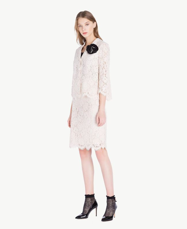 Mid-length lace skirt Pale Ecru Woman PS82XB-05