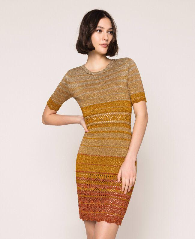Striped lurex yarn dress Multicolour Gold Stripes Woman 201TT3090-01