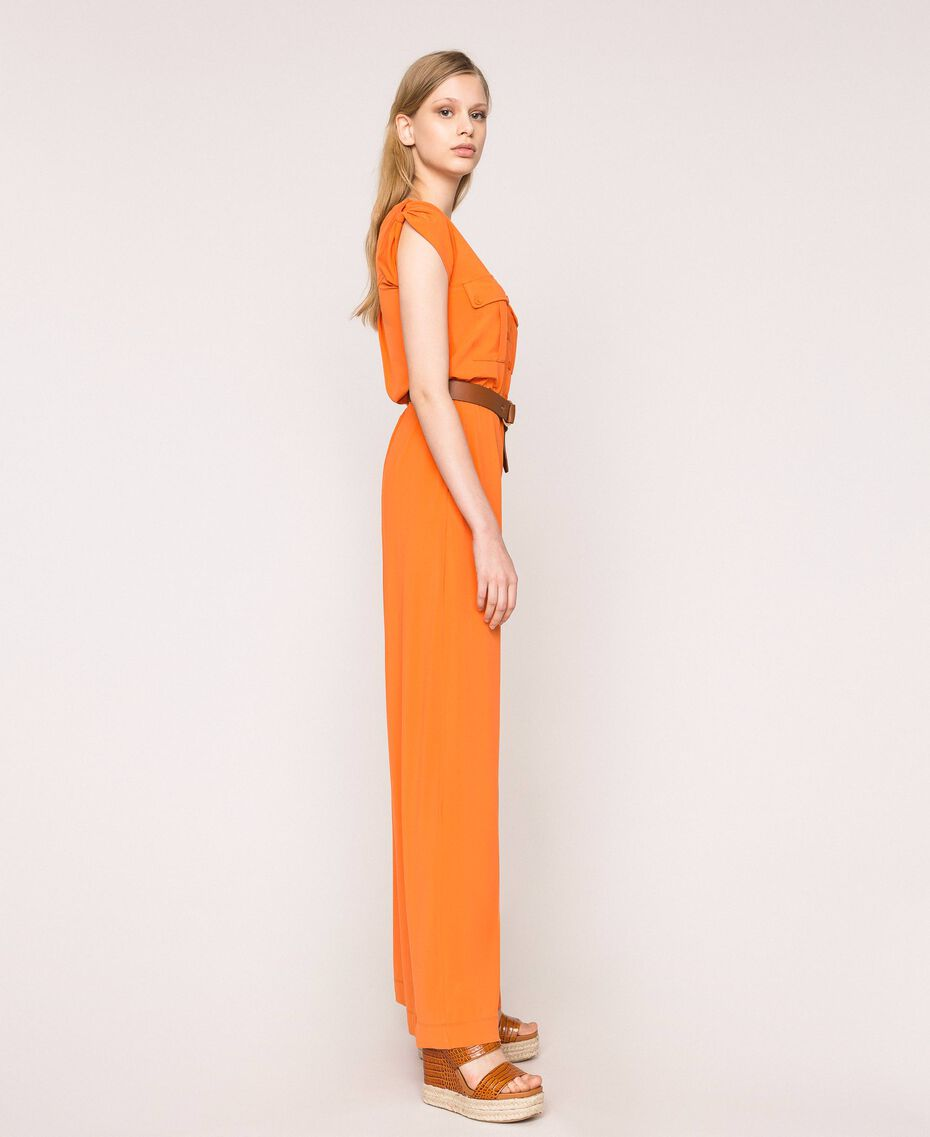"Jumpsuit with pockets and belt ""Calendula"" Orange Woman 201MT2153-02"