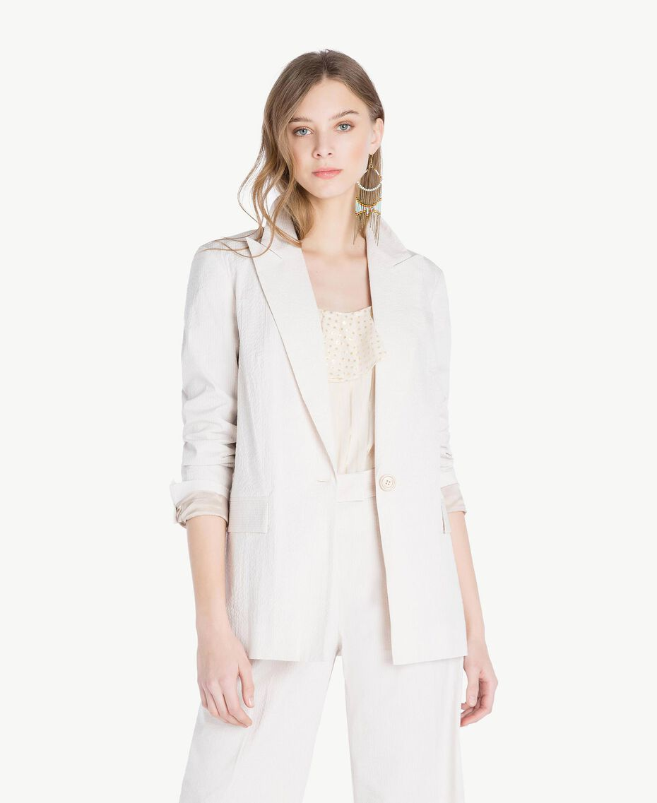 "Cotton jacket Light ""Dune"" Beige Stripes Woman TS82Z1-01"