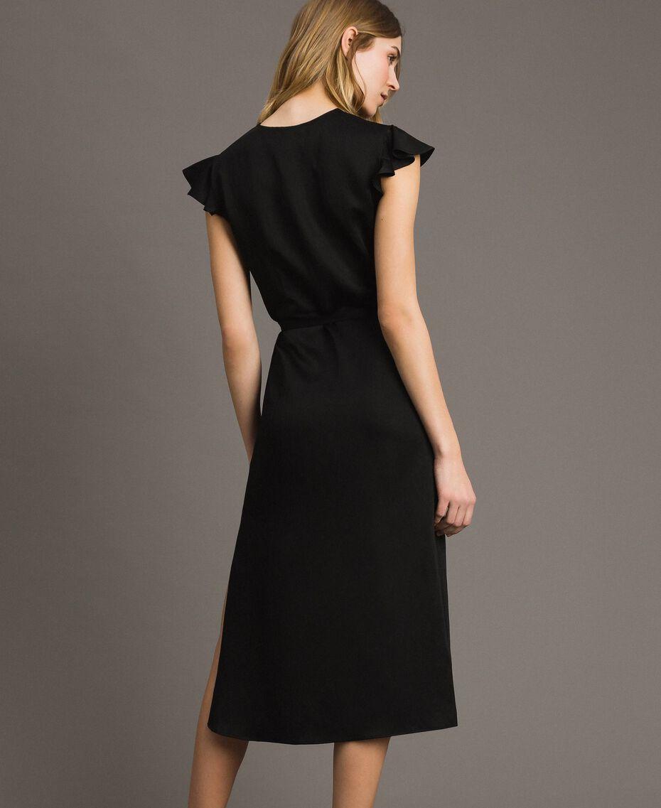 Robe longue en lin envers satin Noir Femme 191TT2303-03