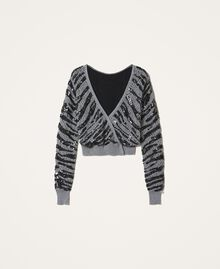 Cardigan-jumper with animal pattern sequins Gunmetal Grey Woman 202TP3151-0S