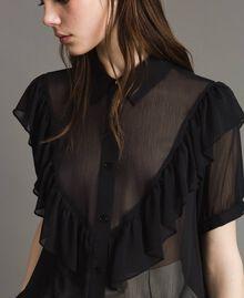 Camicia in creponne con ruches Nero Donna 191LB21GG-04