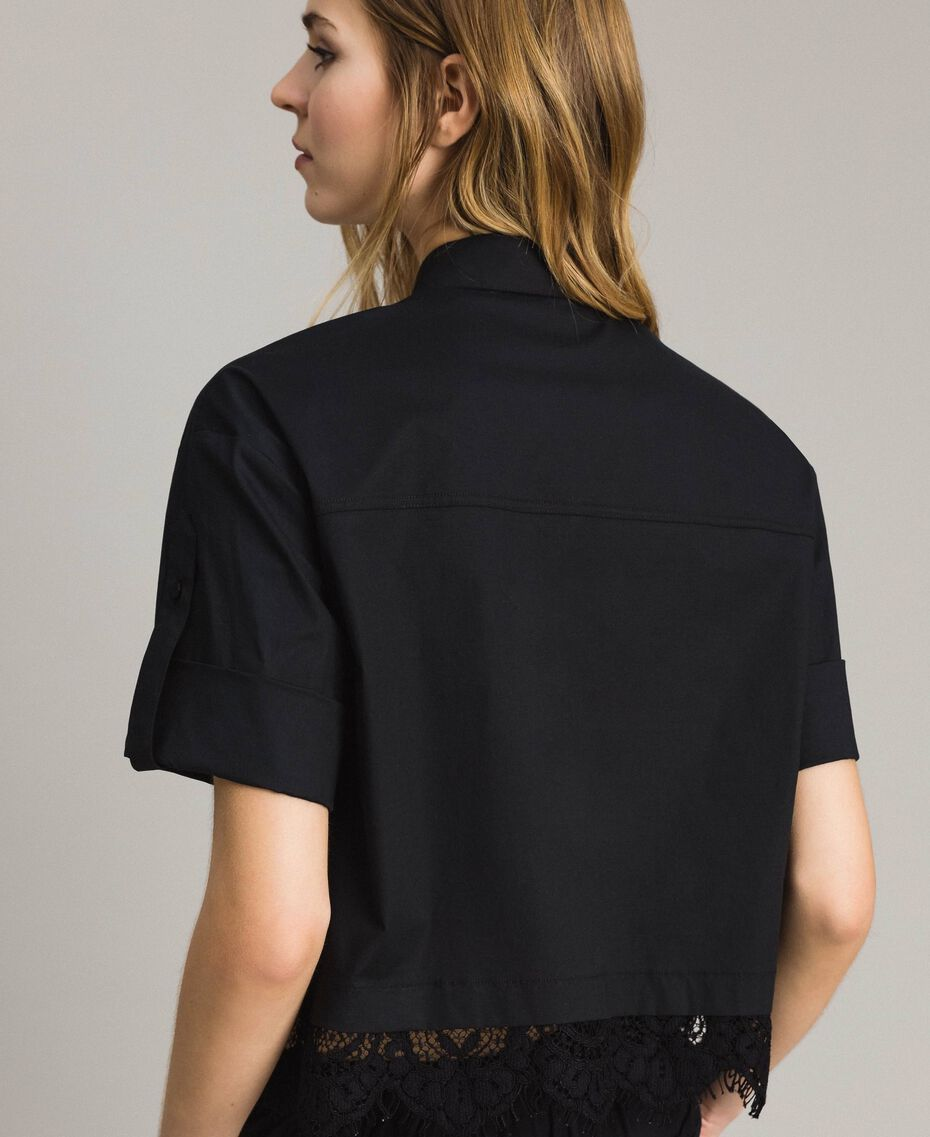 Popeline-Hemd mit Spitze Schwarz Frau 191TT2238-05