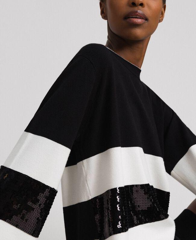 Robe en maille rayée avec sequins Bicolore Noir / Lys Femme 192MT3200-04