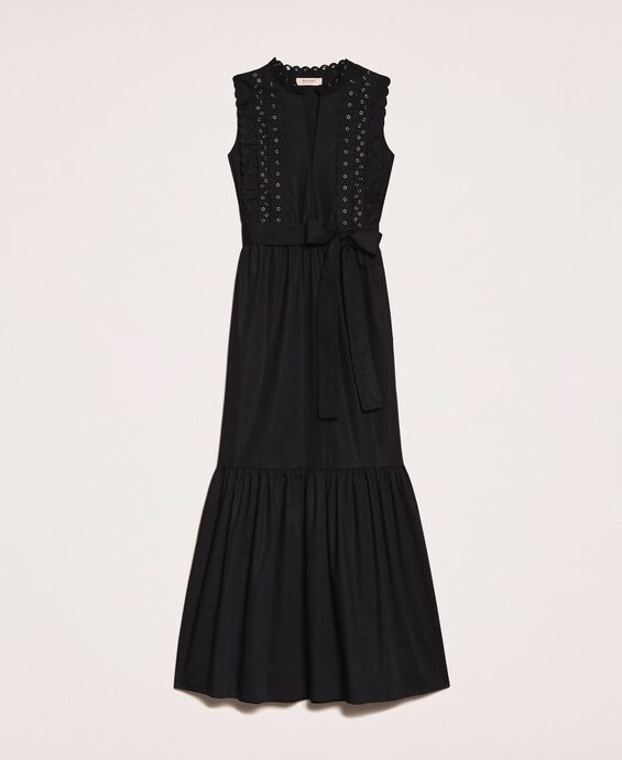 Poplin long dress with embroidery