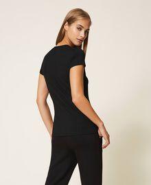 T-shirt avec logo strassé Noir Femme 202LL2CRR-04
