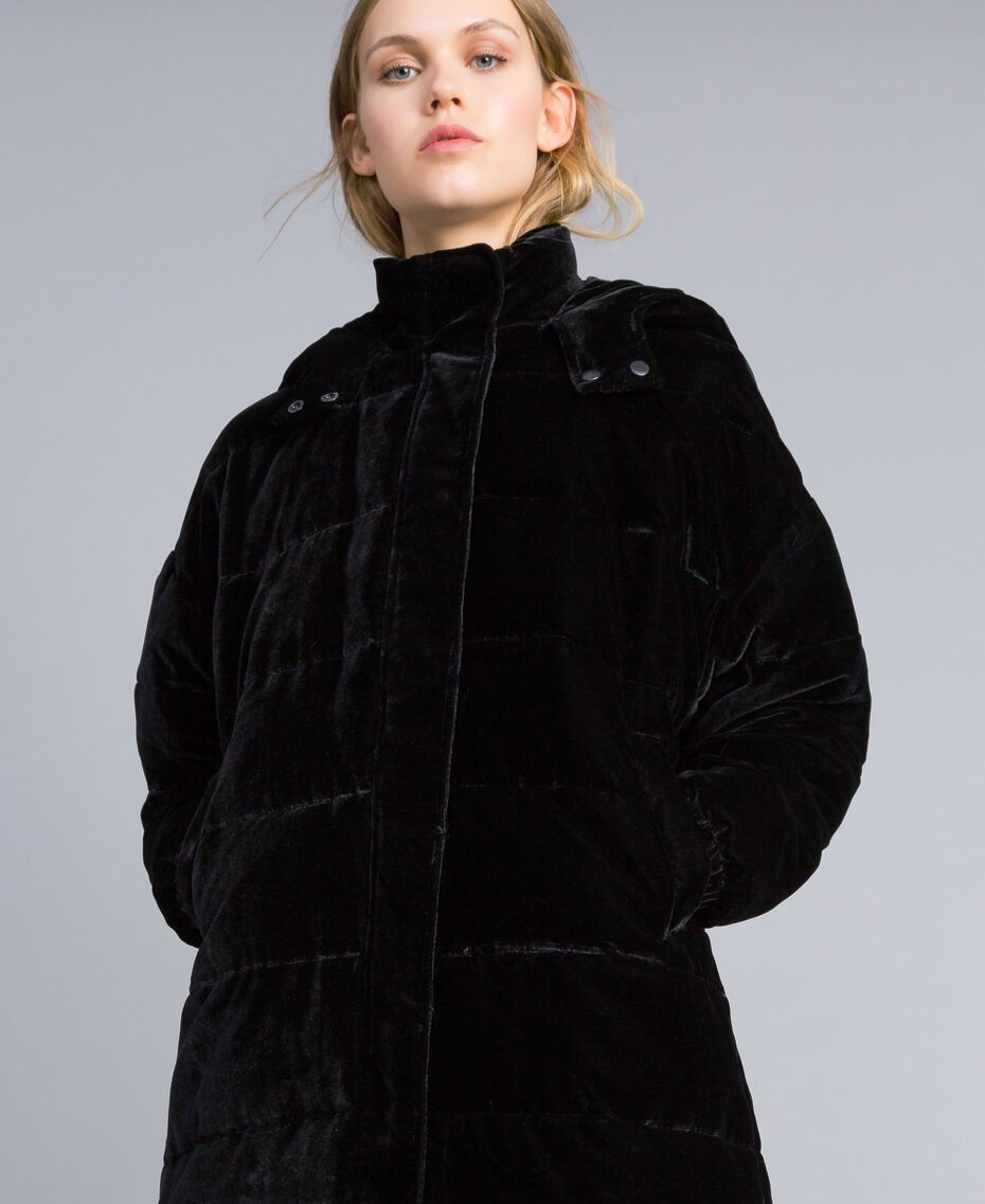 Doudoune longue en velours Noir Femme TA82BB-05