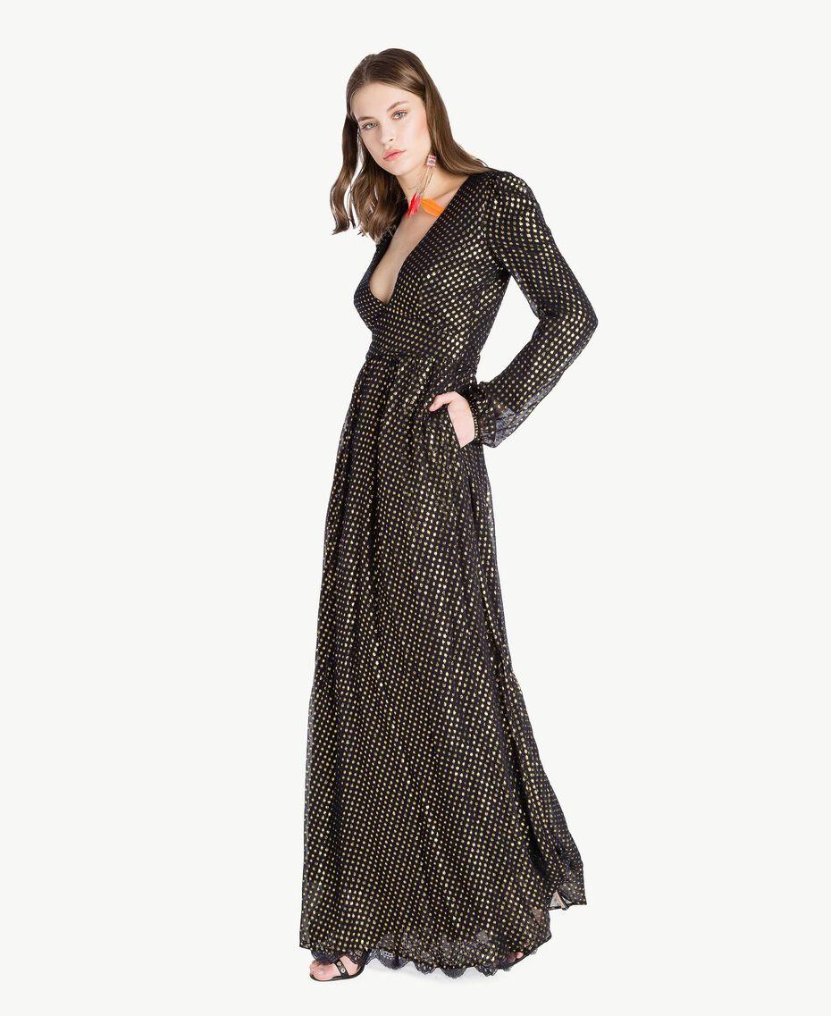 Robe longue Jacquard Noir / Or Femme TS8267-02