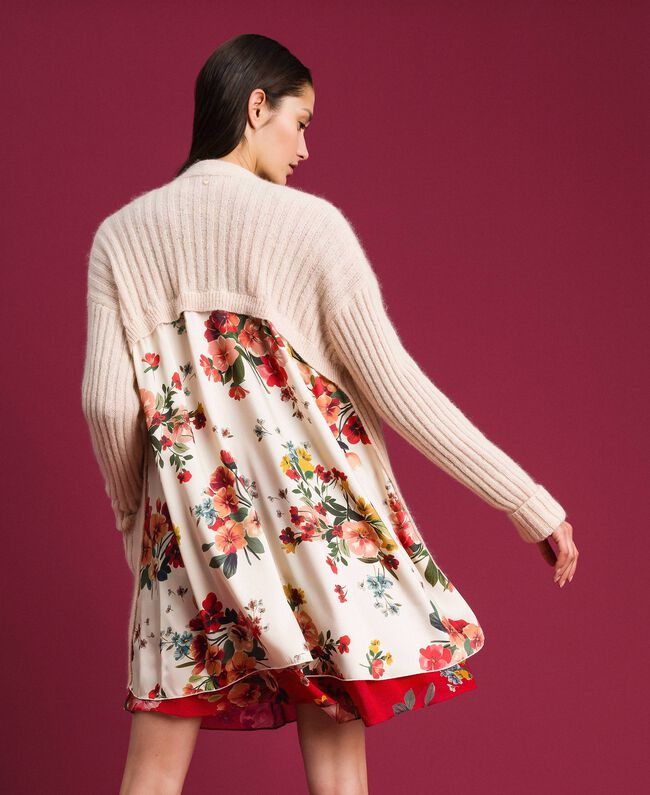 Cardigan en mohair et twill imprimé Crème / Imprimé Bouquet Femme 192TP3061-03