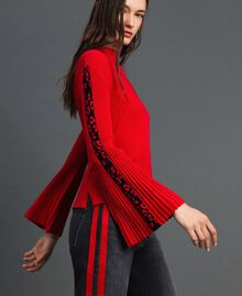 Ribbed jumper with jacquard inlay Poppy Red / Black Woman 192MP3010-02