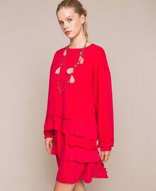 Blouse en crêpe georgette plissé Griotte Femme 201TP2023-0T
