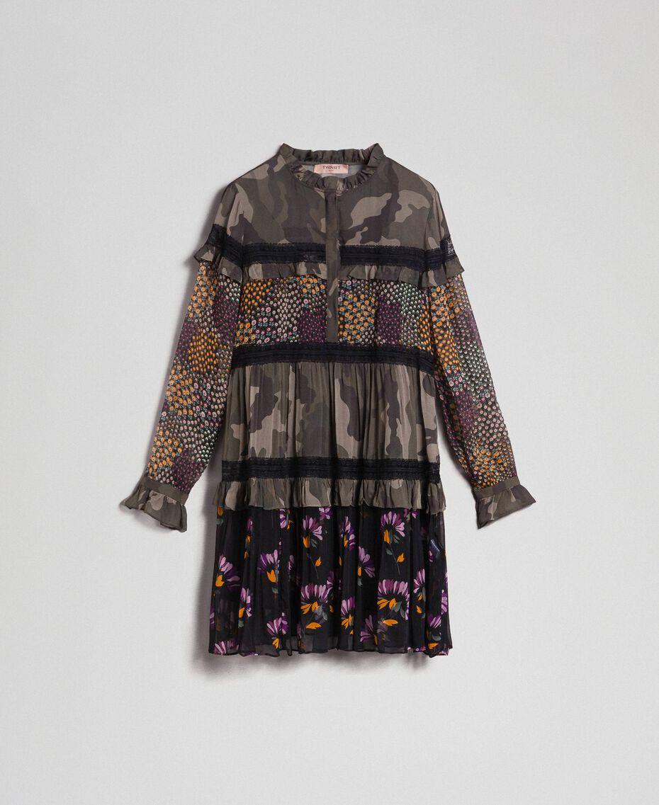 Robe avec imprimé camouflage et floral Imprimé Patch Fleur Camouflage Femme 192TT2122-0S