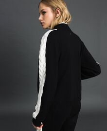 "Bomber jacket with knit inlay Bicolour Black / ""Snow"" White Woman 192TP2120-02"