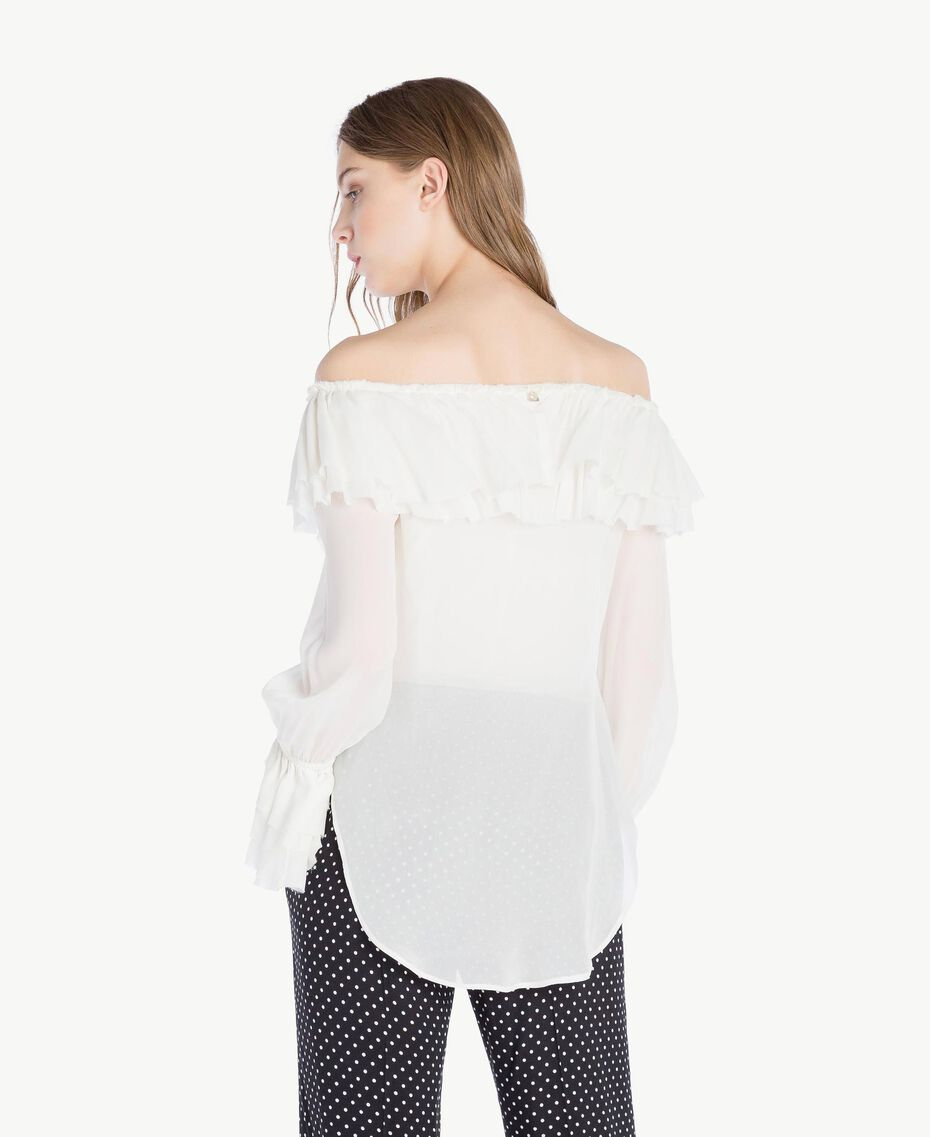 Frilled blouse Light Ivory Woman PS823D-03