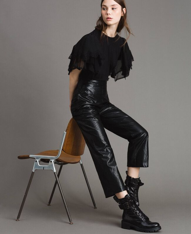 Pantaloni in similpelle Nero Donna 191TP2550-01