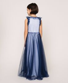 """Full-length tulle gown with ruffle Two-tone Night Blue / """"Papers"""" White Child 201GJ2Q50-03"""