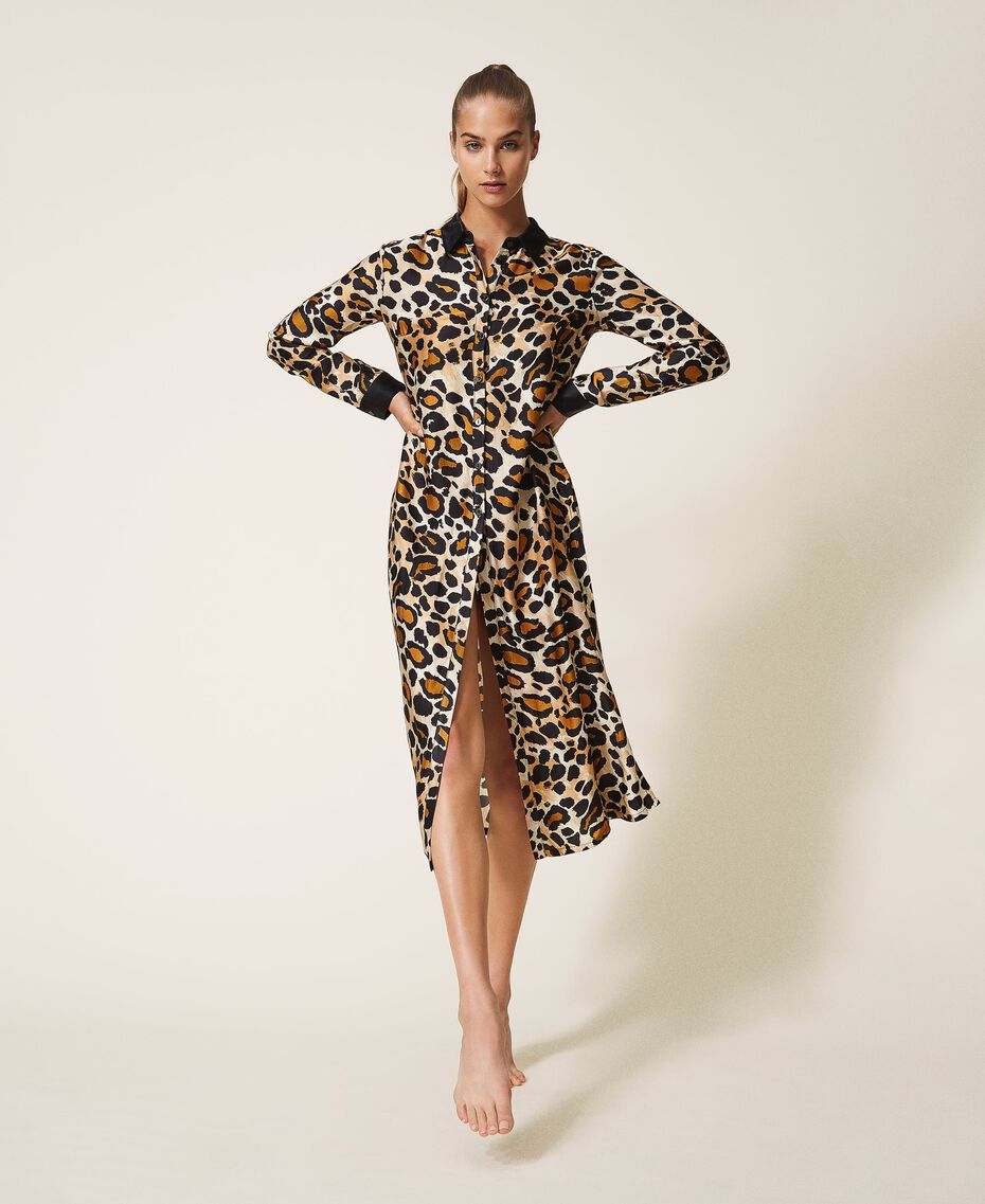 Shirt dress made of animal print satin Animal Print Woman 202LL2EGG-02