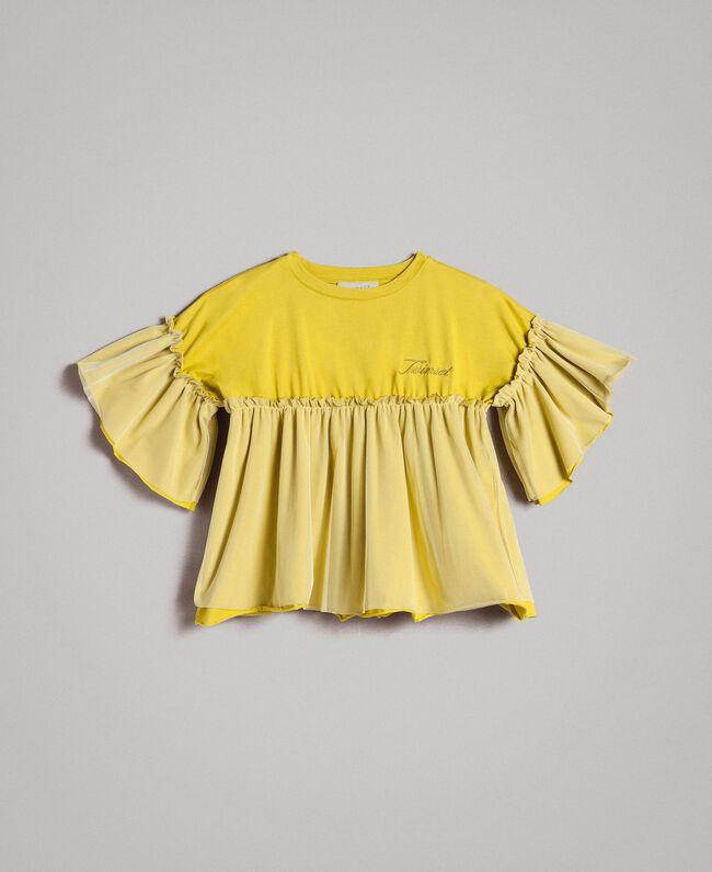 "T-shirt en jersey et tulle Jaune ""Bambou"" Enfant 191GJ2332-01"
