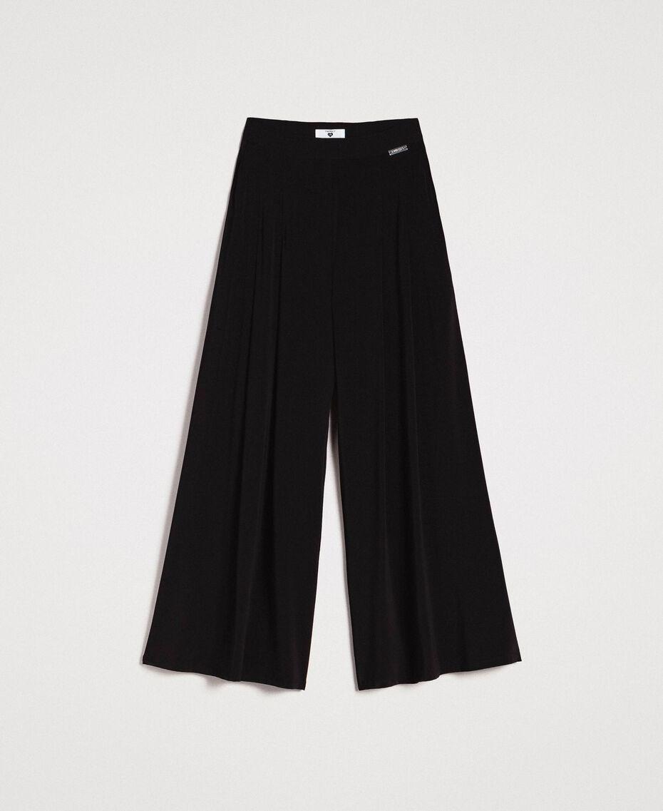 Pantalon palazzo en jersey crêpé Noir Femme 191LB22AA-0S