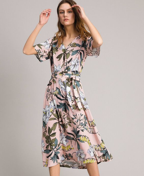 Floral print crêpe dress