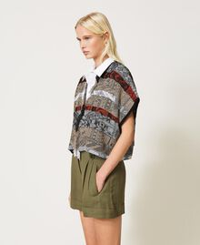 Jacquard cardigan with fringes Multicolour Jacquard Textured Woman 211TT3270-02