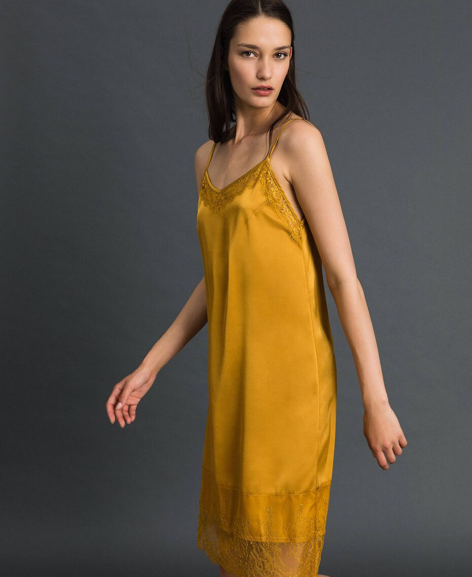 Satin and lace slip Saffron Yellow Woman 192MP2132-02
