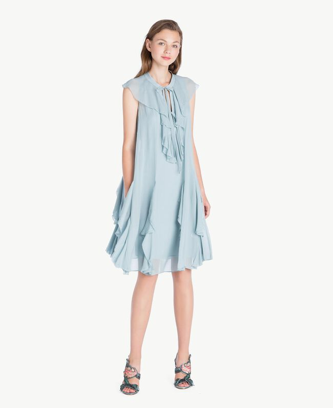Kleid mit Rüschen Blau pulver QA7PAC-01