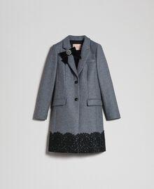 Mantel aus Tuch mit Spitze Durchschnittgrau-Mélange Frau 192TP2314-0S